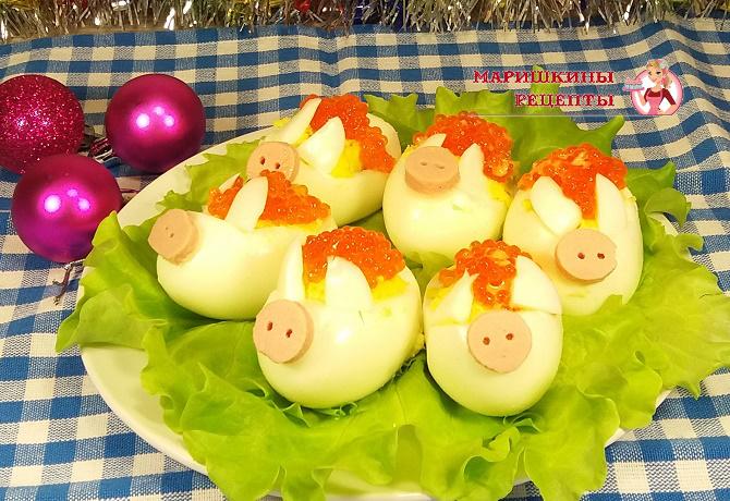 Фаршированные яйца в виде поросят