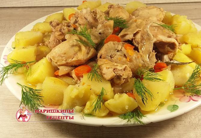 Курица в банке с картошкой в духовке