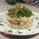 Самый вкусный салат из куриной печени с соленым огурцом и сыром